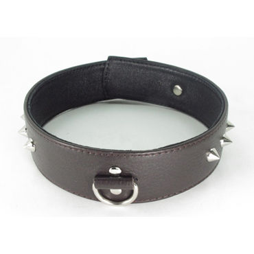 BDSM Арсенал Ошейник с шипами, коричневый С кольцом bdsm арсенал ошейник с кольцом для поводка черно красный декорирован шипами