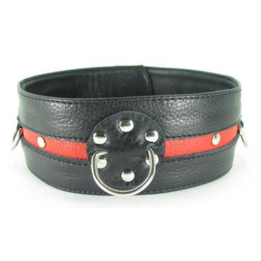 BDSM Арсенал Ошейник, черно-красный С кольцами бдсм лайт изящный ошейник черно белый с кружевной окантовкой