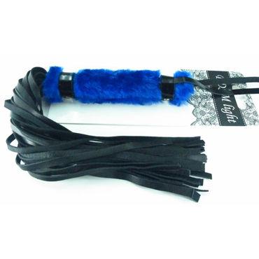 BDSM Арсенал Плеть с синим мехом Многохвостая doc johnson vac u lock codeblack double penetrator двойная насадка к трусикам