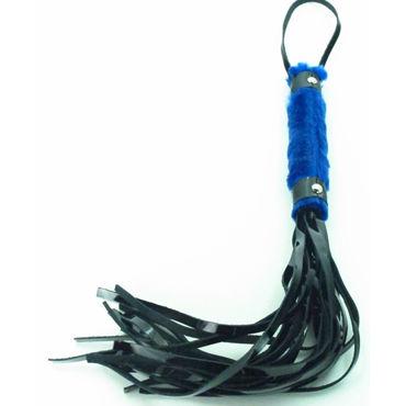 BDSM Арсенал Лаковая плеть с синим мехом Многохвостая podium стек 70 см черно красный наконечник кисточка 20 см лакированный