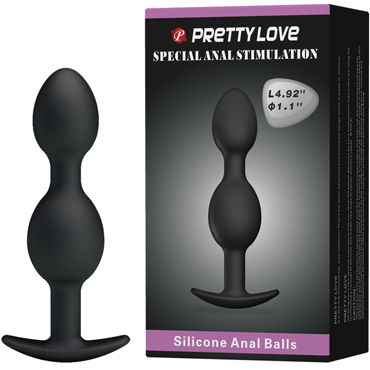 Baile Pretty Love Silicone Anal Balls, черные Анальные шарики p wet fun flavors tropical fruit explosion 10 vk