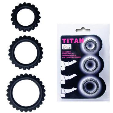 Baile Titan, черный Набор из трех эрекционных колец diogol jaz nh t2 серебристая анальная пробка с вибрацией