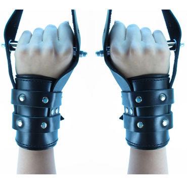 BDSM Арсенал Наручники для подвешивания, черные Со штырями внутри наручники черные с зеркальным элементом rosie black