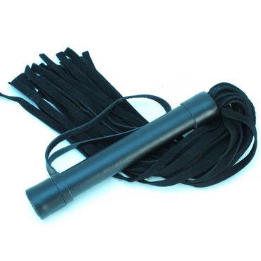 BDSM Арсенал Плеть из замши, черная Многохвостая, с жесткой рукояткой ивыь арсенал дизайнерская плеть серебристая v