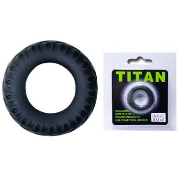 Baile Titan Покрышка, черное Рельефное эрекционное кольцо soft line комплект черный длинная комбинация и стринги