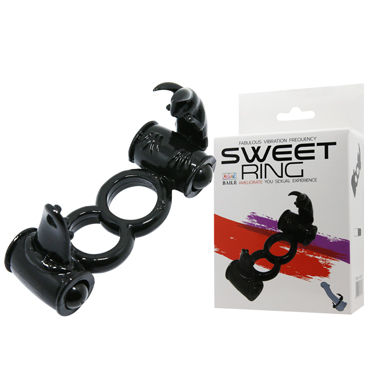 Baile Sweet Ring Двойное, черное Эрекционное кольцо, стимуляция клитора bad kitty cock ring with mini vibrator черное кольцо на пенис с минивибратором