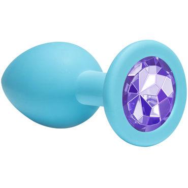 Lola Toys Emotions Cutie Medium, голубая Анальная пробка с пурпурным кристаллом blue line velcro ball stretcher хомут для мошонки на липучке