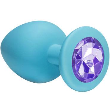 Lola Toys Emotions Cutie Large, голубая Анальная пробка с пурпурным кристаллом lola toys emotions cutie medium розовая анальная пробка с черным кристаллом