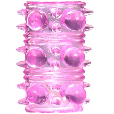 Lola Toys Rings Armour, розовая Стимулирующая насадка на пенис наручники из кожи красные