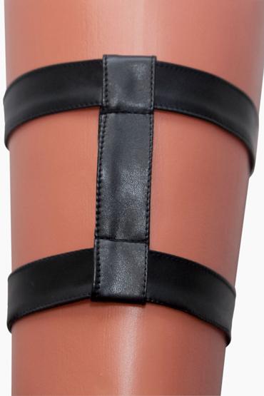 Mens dreams Подвязка №2, черная Из искуственной кожи анальная цепочка flexible wand серая
