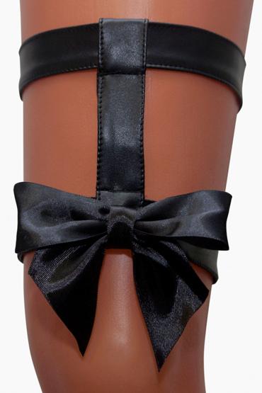 Mens dreams Подвязка с бантом, черная Из искуственной кожи leg avenue шляпка черная с бантиком и цветочком