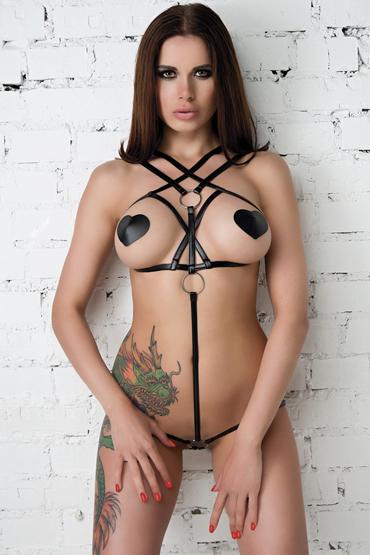 Mens dreams Боди, черное С переплетением на груди erolanta эротические трусики пояс черные с декоративными вырезами и доступом