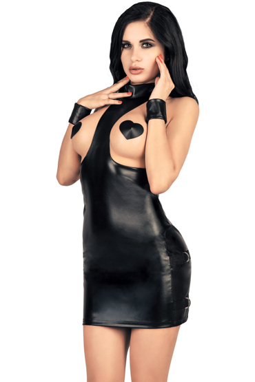 Mens dreams Платье с открытой грудью, черное Из экокожи костюм le frivole школьная форма ссср m l