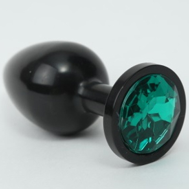 4sexdream Анальная пробка средняя, черная С зеленым стразом kanikule средняя анальная пробка розовая с радужным кристаллом