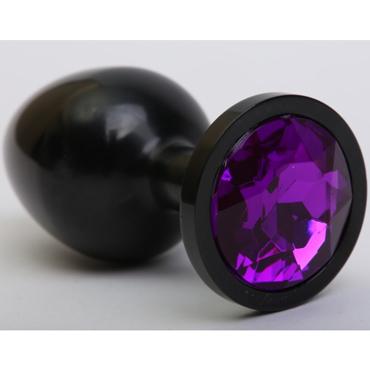 4sexdream Анальная пробка средняя, черная С фиолетовым стразом kanikule средняя анальная пробка розовая с радужным кристаллом