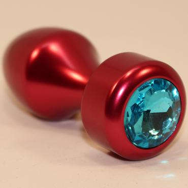 4sexdream Анальная пробка в форме пули, красная С голубым стразом diogol anni magnet t1 красная анальная пробка с 2мя сменными кристаллами swarovski