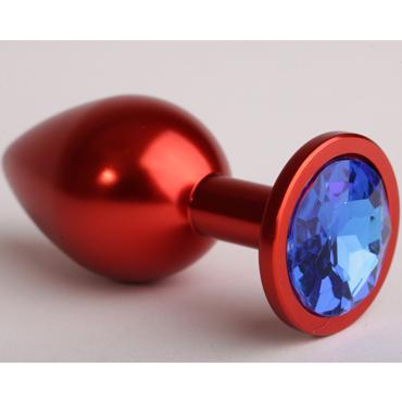 4sexdream Анальная пробка малая, красная С синим стразом 4sexdream анальная пробка малая красная с фиолетовым стразом