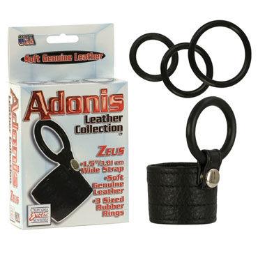California Exotic Adonis Leather Collection Сбруя на пенис с петлей для мошонки и три эрекционных кольца кольца на пенис цвет телесный