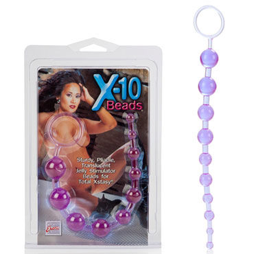 California Exotic X-10 Beads, фиолетовая Гибкая анальная цепочка feelztoys cogilia анальная цепочка