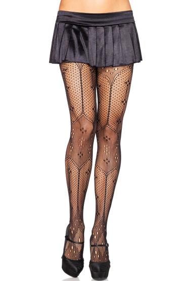 Leg Avenue колготки С элегантным орнаментом leg avenue swiss dot cage set черный бюстгальтер и трусики