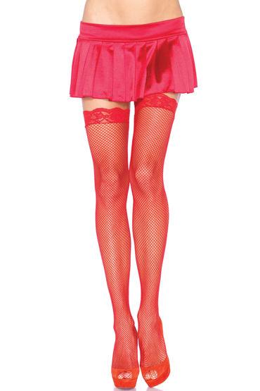 Leg Avenue чулки, красные С тонкими ажурными резинками leg avenue чулки с широкими кружевными резинками