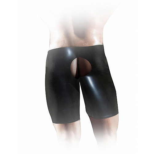 Shots Fist It Latex Unisex Fisting Short, черные Латексные шорты для фистинга товары для мастурбации new yjmbut