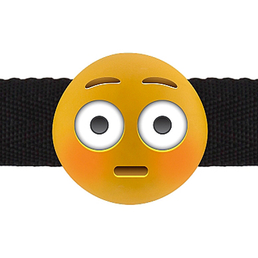 Shots Shock Emoji, желтый Кляп с эмоцией кляп намордник с фиксацией на голову head harness