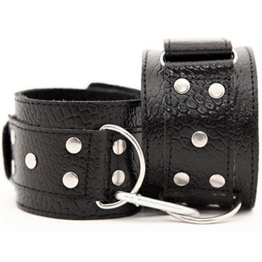 BDSM Арсенал наручники, черные С металлической фурнитурой маска из натуральной кожи красная