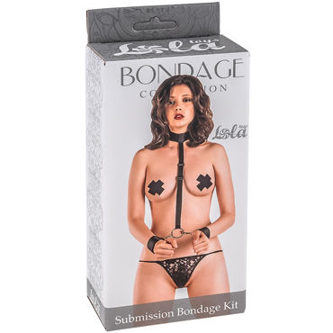 Lola Toys Submission Bondage Kit One Size, черный Ошейник с наручниками стандартного размера lola toys submission bondage kit plus size черный ошейник с наручниками увеличенного размера