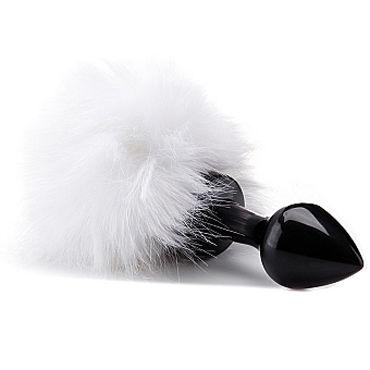 Ouch! Beginner Bunny Tail Buttplug, черная Анальная пробка с хвостиком вакуумные помпы для сосков материал стекло