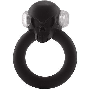 Shots S-Line Shadow Skull Cockring, черное Виброкольцо украшенное черепом боди в сеточку с открытыми боками черное
