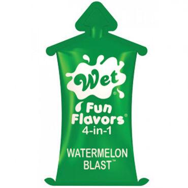 Wet Fun Flavors 4 in 1 Watermelon Blast, 10 мл Универсальный лубрикант с ароматом арбуз гель лубрикант wet fun flavors 4 в 1 seductive strawberry 10 мл