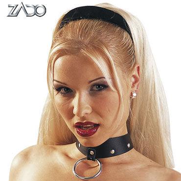Zado Leather Collar Ошейник с кольцом для пристегивания гель смазка come in gleit gel inverma 200 мл