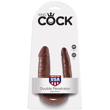 Pipedream KIng Cock U-Shaped Small Double Trouble, коричневый Анально-вагинальный фаллоимитатор малого размера анально вагинальный миостимулятор don juan