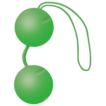 Joy Division Joyballs Trend, зеленые матовые Вагинальные шарики со смещенным центром тяжести ошейник с красным подкладом