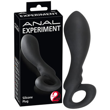 You2Toys Anal Experiment, черная Анальная пробка с кольцом you2toys booty beau s черная малая анальная втулка