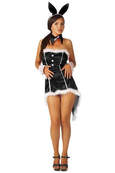 Le Frivole Пушистый зайка, черный Платье, ушки, воротник и манжеты нейтральный любрикант на водной основе jo personal lubricant h2o 120 мл
