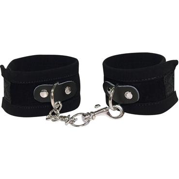 Bad Kitty Handcuffs, черные Наручники из замши shots toys bad romance translucent handcuffs with black stripes черно белые наручники с полосами