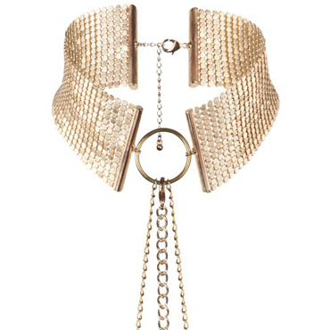 Bijoux Indiscrets Desir Metallique, золотой Ошейник металлический doc johnson american bombshell blast balls анальная цепочка