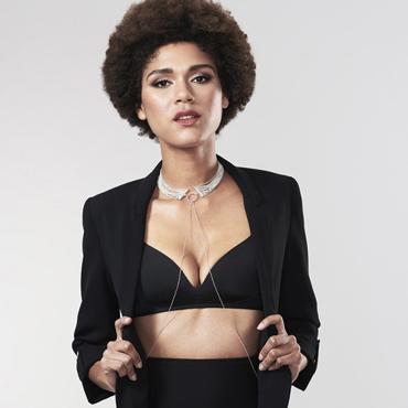 Bijoux Magnifique Metallic chain Choker, серебристый Металлический ошейник fake leather choker necklace
