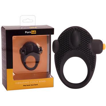 Pornhub Vibrating Cock Ring, черное Виброкольцо для пениса силиконовые накладки на грудь 46