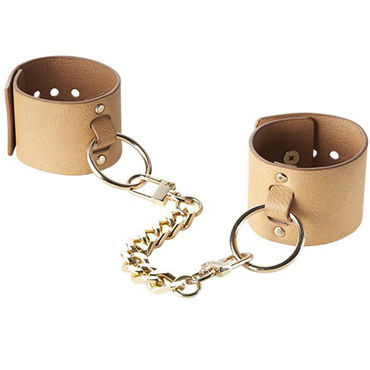 Bijoux Indiscrets MAZE Wide Cuffs, коричневые Наручники на цепочке x play love chain wrist cuffs красные кожаные наручники
