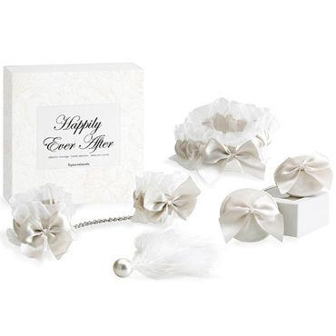 Bijoux Indiscrets Happily Ever After, белый Набор из подвязки, наручников, украшения на грудь, кисточки lola toys discovery nurse телесная сменная насадка для вакуумной помпы