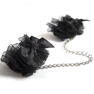 Bijoux Indiscrets Frou Frou, черные Наручники из органзы sportsheets satin and lace lovers kit красно черные сатиновые наручники и маска