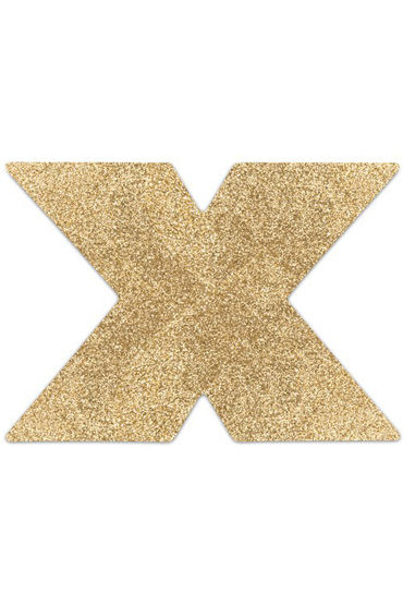 Bijoux Indiscrets Flash Cross, золотые Сверкающие наклейки на соски
