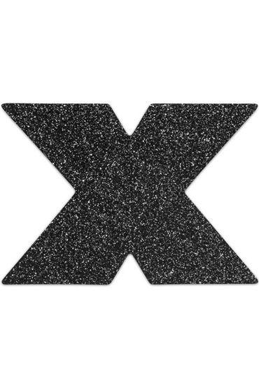 Bijoux Indiscrets Flash Cross, черные Сверкающие наклейки на соски