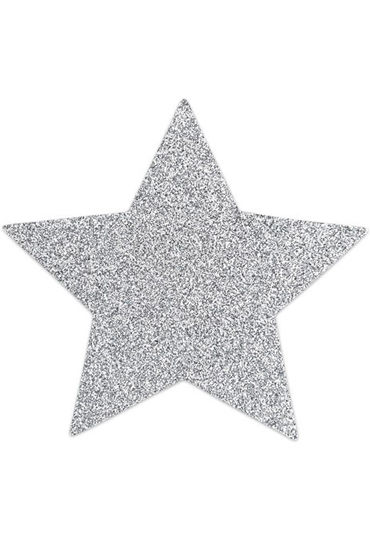 Bijoux Indiscrets Flash Star, серебряные Сверкающие наклейки на соски анально вагинальные вибраторы цвет розовый