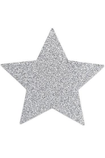Bijoux Indiscrets Flash Star, серебряные Сверкающие наклейки на соски vizit overture classic презервативы классические