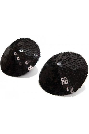 Bijoux Indiscrets Burlesque Pasties Sequin, черные Пэстисы расшитые пайетками халатик цвета лилии и мяты os
