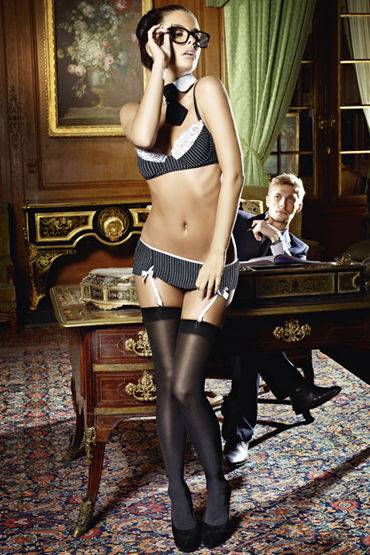 Baci Секретарша Секси Лиф, мини-юбка, воротничок и галстук ns novelties luna balls черная анальная пробка среднего размера
